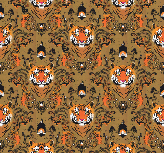 Curioos | «Tiger Wallpaper» Artwork by Victoria Topping