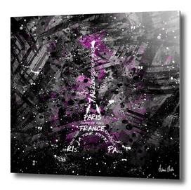 Digital Art Eiffel Tower | pink/black and white