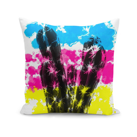 cactus with colorful painting abstract background