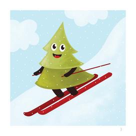 Skiing Happy Pine Tree In Winter