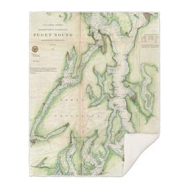 Vintage Map of The Puget Sound (1867)