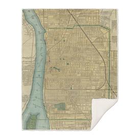 Vintage Map of Detroit Michigan (1895)