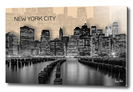 MANHATTAN Skyline | Graphic Art | orange