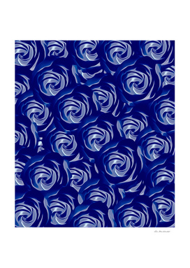 blooming blue rose pattern texture abstract background