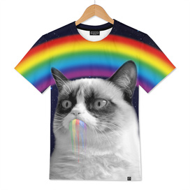 Grumpy cat all over galaxy rainbow puke Space Crazy C