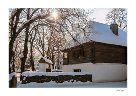 Winter tale in an old rustic village