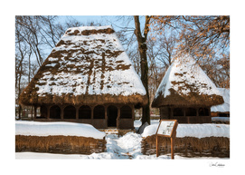 Winter postcard from the picturesque Romanian Village Museum