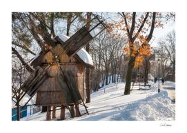 Winter Romanian postcard with windmills