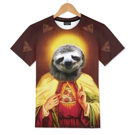 Holy Pizza Sloth Lord Jesus All over big print Animal