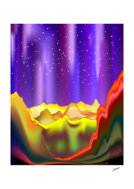 Aurora Borealis on Rainbow Surreal Mountains