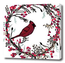 Winter Wreath and Cardinal
