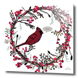 Winter Wreath and Cardinal