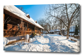 Fairy Tale Winter View at the Village Museum in Bucharest
