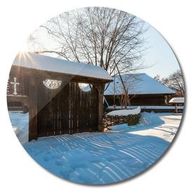 Sun star in a Romanian Village in winter
