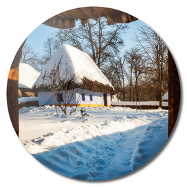 Fairytale winter cottage  at the Village Museum in Bucharest