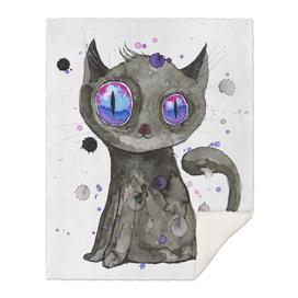 Black cute kitten