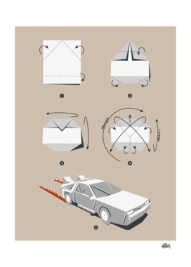 Origami Delorean