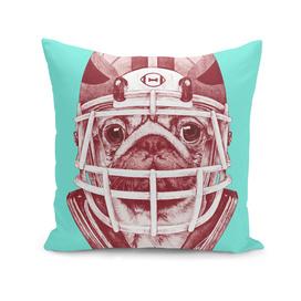 American Pug Football Red