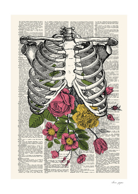 Skeleton Floral Dictionary Print