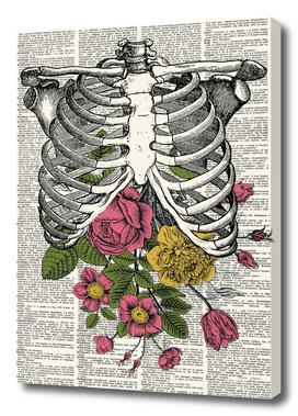 Skeleton Floral Dictionary Print