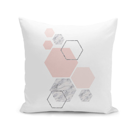 Blush&gray marble hexagon art