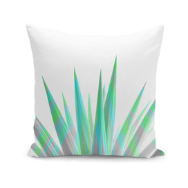 Tropical Allure - Green & Grey on White