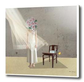 behind curtain