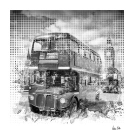 Graphic Art LONDON WESTMINSTER Buses   Monochrome