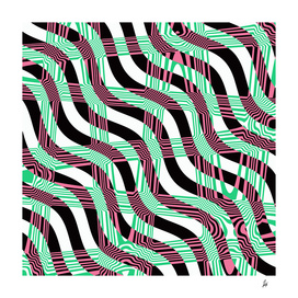 Absract Wavy Stripes (green, pink)
