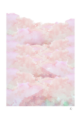 pink watercolor mountains