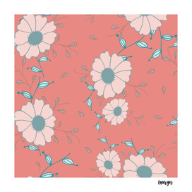 Flowers with pink background