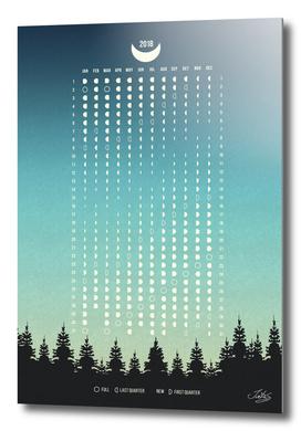 Moon Phases Calendar 2018 Blue, Northern Hemisphere