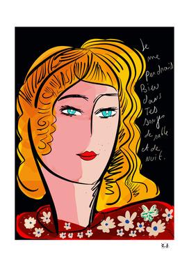 French Poem Portrait Girl Pop Expressionism