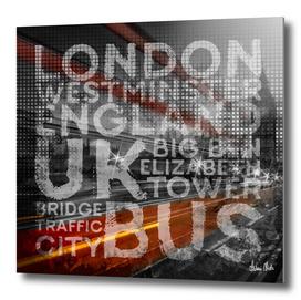 Graphic Art LONDON Westminster Bridge Traffic