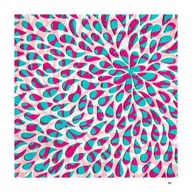 Organic Petals Pattern Pink Turquoise