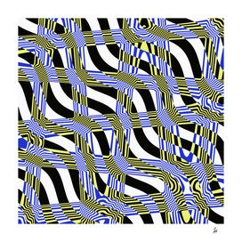 Absract Wavy Stripes (blue, yellow)