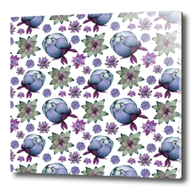 Succulents and Peonies Pattern 2