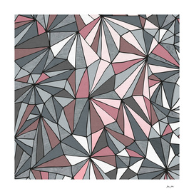 Urban Geometric Prism Pattern - Pink and Grey