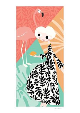 Girl and Flamingo 003