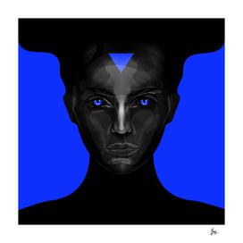 black lady on blue