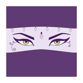 Purple Oriental Dancer With Beautiful Eyes