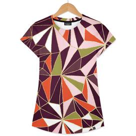 New Art Deco Geometry - Burgundy & Pink