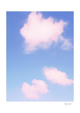 3 Pink Rimmed Cloud Puffs