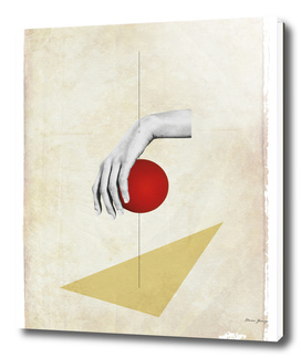 composition with female hand and red ball