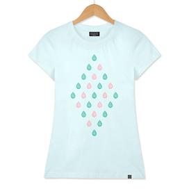Coral pink & teal blue droplets