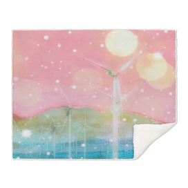 wind turbine in the desert with snow and bokeh light