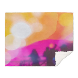 summer sunset sky with colorful bokeh light abstract