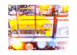 yellow classic taxi car with colorful bokeh light