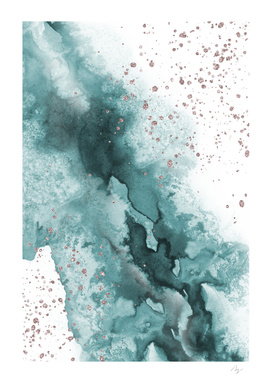 Watercolor meets Glitter - Turquoise Rose Gold - No 4