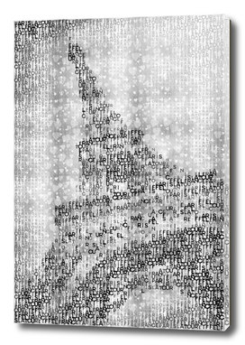 Typographic Art | PARIS Eiffel Tower | silver & hearts